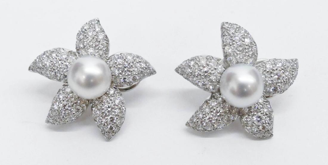 Pair Suna Platinum Diamond Starfish Earrings 1.25''x1''