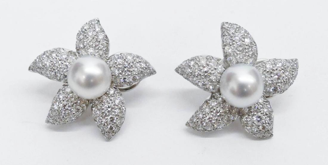 Pair Suna Platinum Diamond Starfish Earrings 1.25''x1''