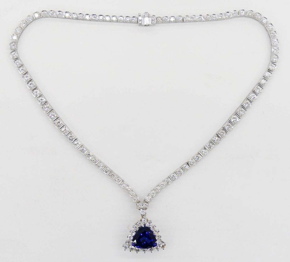 Lady's Platinum 10ct Tanzanite & Diamond Necklace 16''.