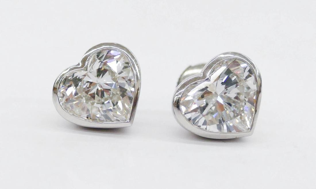 Pair Lady's 4.99ctw Diamond Heart Shaped Earrings .5''