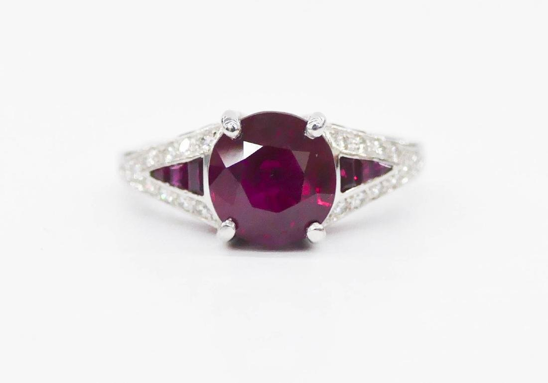 Impressive Lady's 3.3ct Natural Ruby & Diamond Ring