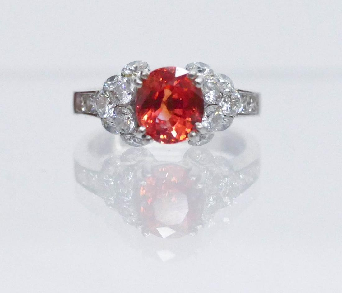 Lady's 2.49ct Natural Red Sapphire & Diamond Ring Size