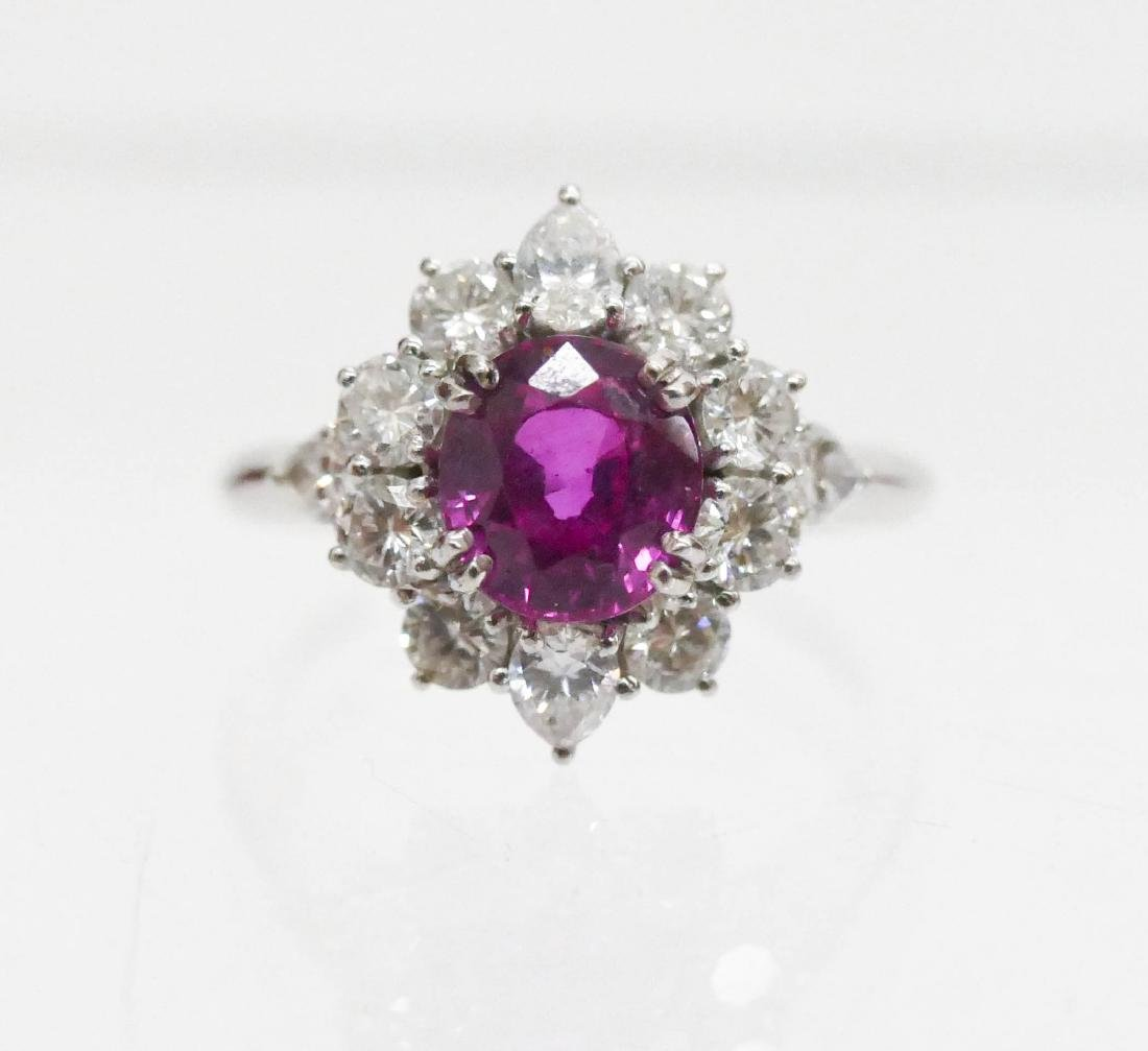 Lady's 2.33ct Pink Sapphire & Diamond Ring Size 7.