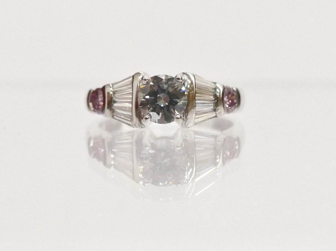 Lady's Natural Light Blue & Pink Diamond Platinum Ring