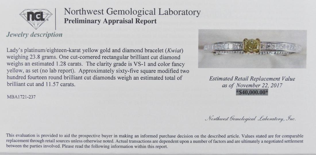 Fine Kwiat Lady's Yellow Diamond Platinum Bracelet - 7