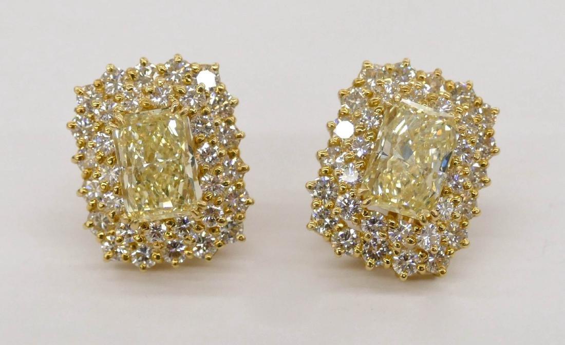 Impressive Pair Lady's 5.72ctw Natural Yellow Diamond