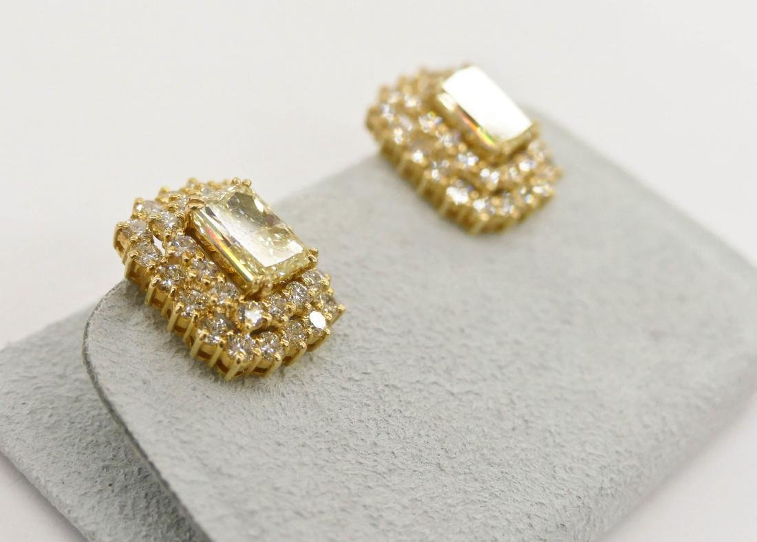 Impressive Pair Lady's 5.72ctw Natural Yellow Diamond - 4