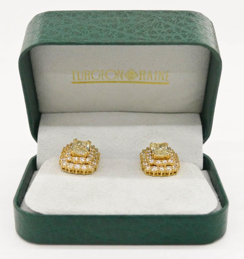 Impressive Pair Lady's 5.72ctw Natural Yellow Diamond - 5