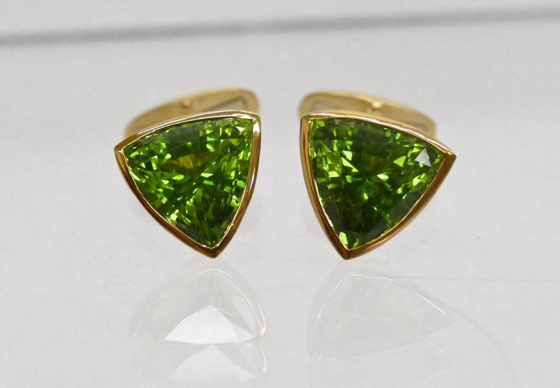 Pair Men's 16ctw Peridot Gold Cufflinks .5'' Diameter