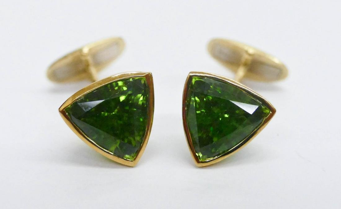 Pair Men's 16ctw Peridot Gold Cufflinks .5'' Diameter - 2