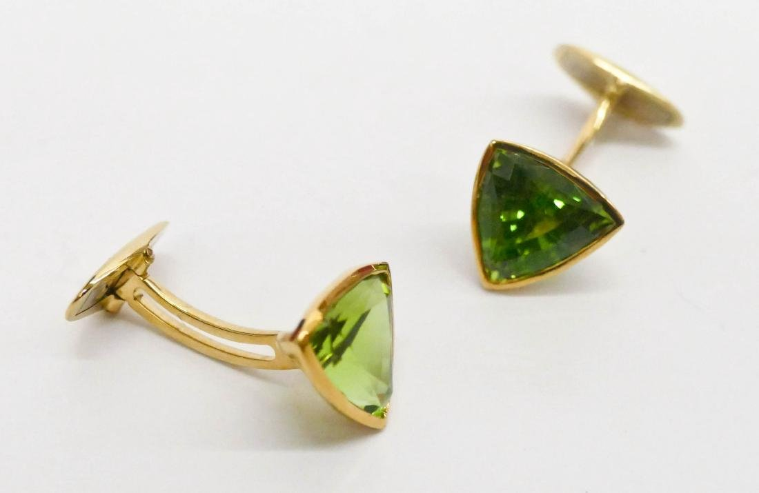 Pair Men's 16ctw Peridot Gold Cufflinks .5'' Diameter - 3