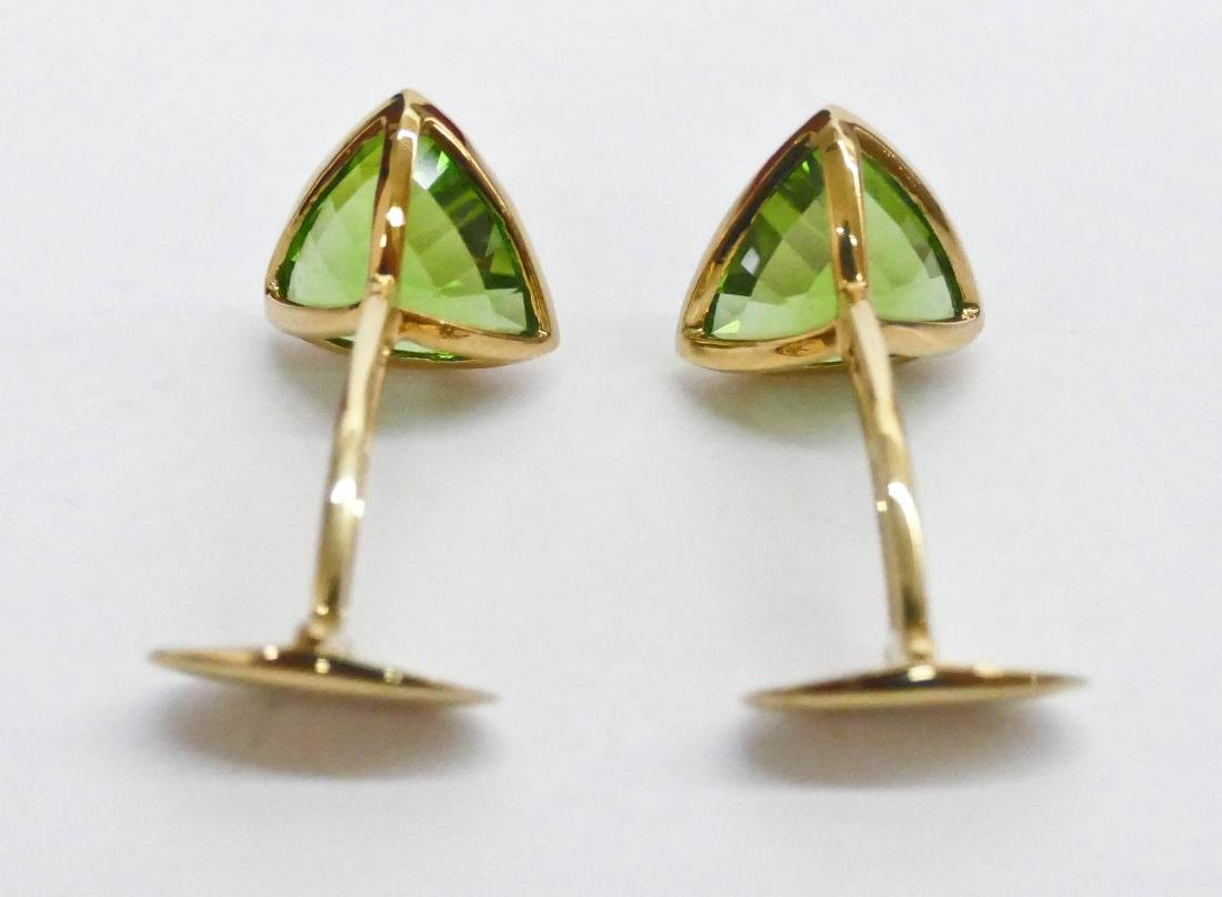 Pair Men's 16ctw Peridot Gold Cufflinks .5'' Diameter - 4