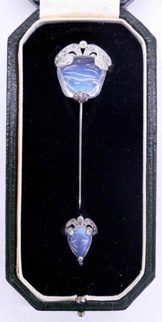 Art Deco Lady's Moonstone & Diamond Jabot Pin