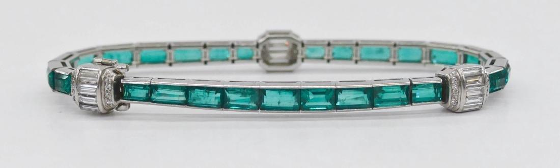 Art Deco Lady's Emerald & Diamond Platinum Bracelet