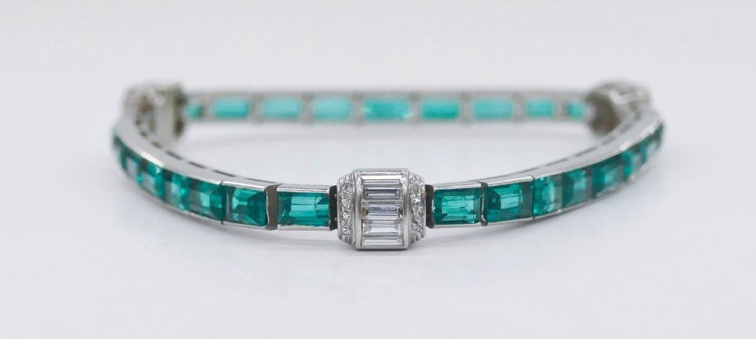 Art Deco Lady's Emerald & Diamond Platinum Bracelet - 2