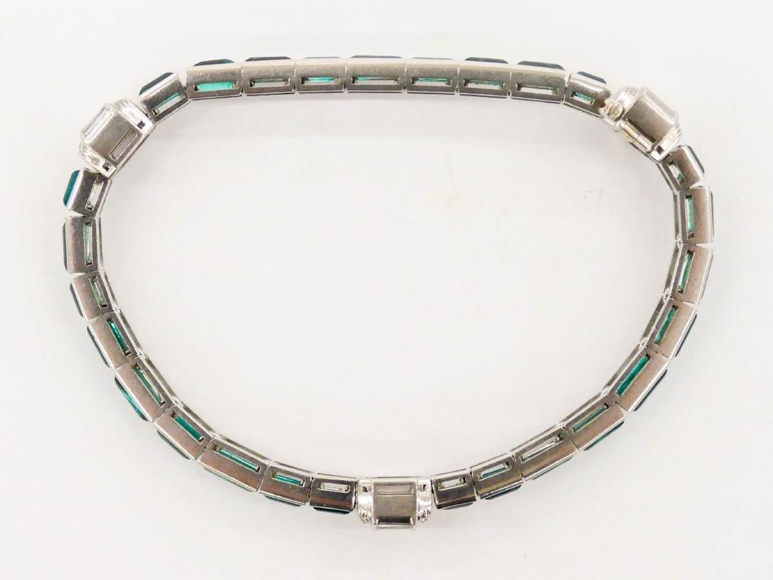 Art Deco Lady's Emerald & Diamond Platinum Bracelet - 3