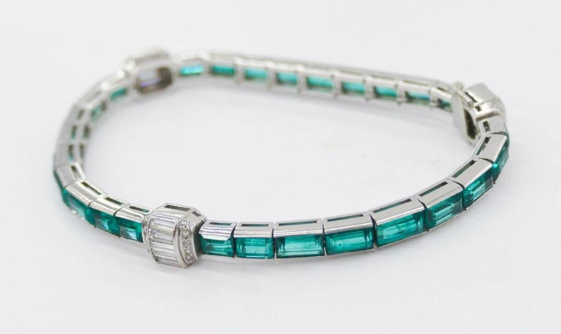 Art Deco Lady's Emerald & Diamond Platinum Bracelet - 4