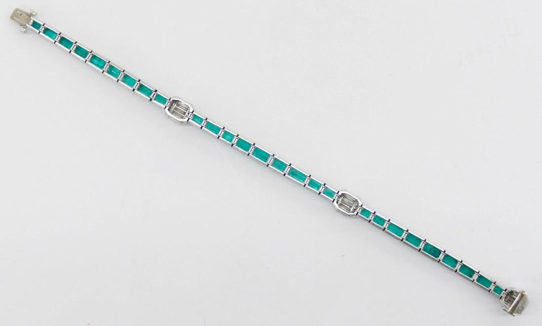 Art Deco Lady's Emerald & Diamond Platinum Bracelet - 6