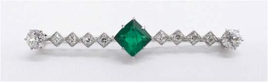 Art Deco Ladys Emerald  Diamond Bar Pin 225