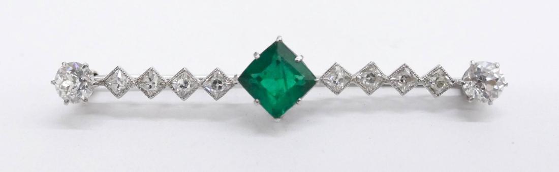 Art Deco Lady's Emerald & Diamond Bar Pin 2.25''.