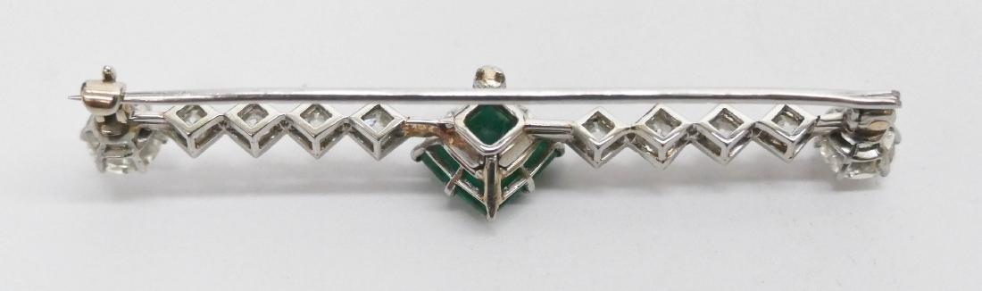 Art Deco Lady's Emerald & Diamond Bar Pin 2.25''. - 3