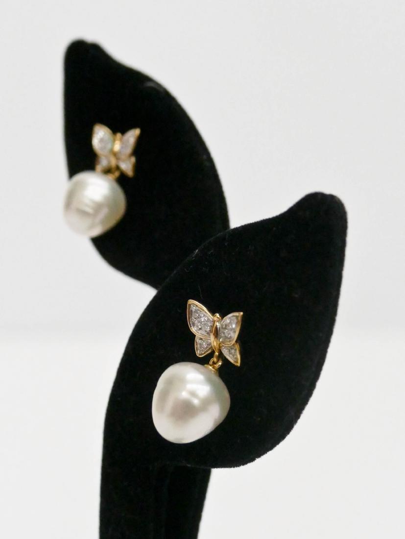 Carrera y Carrera Pair of Lady's 18k Butterfly Earrings - 2