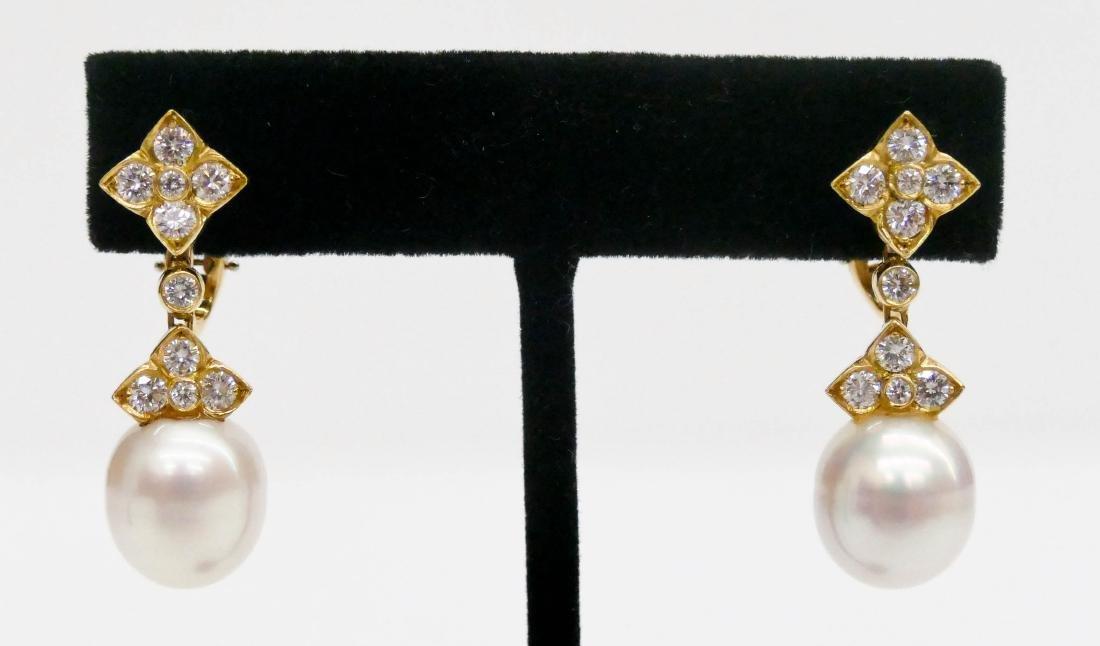 Pair Lady's 18k South Sea Pearl Dangle Earrings 1.25''
