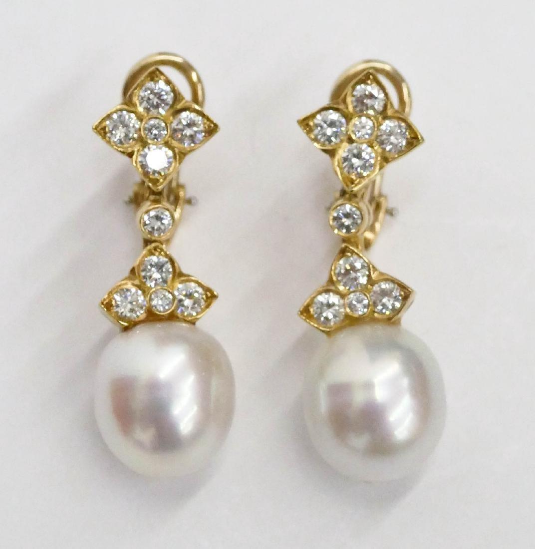 Pair Lady's 18k South Sea Pearl Dangle Earrings 1.25'' - 2