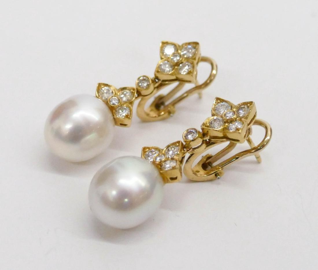 Pair Lady's 18k South Sea Pearl Dangle Earrings 1.25'' - 3