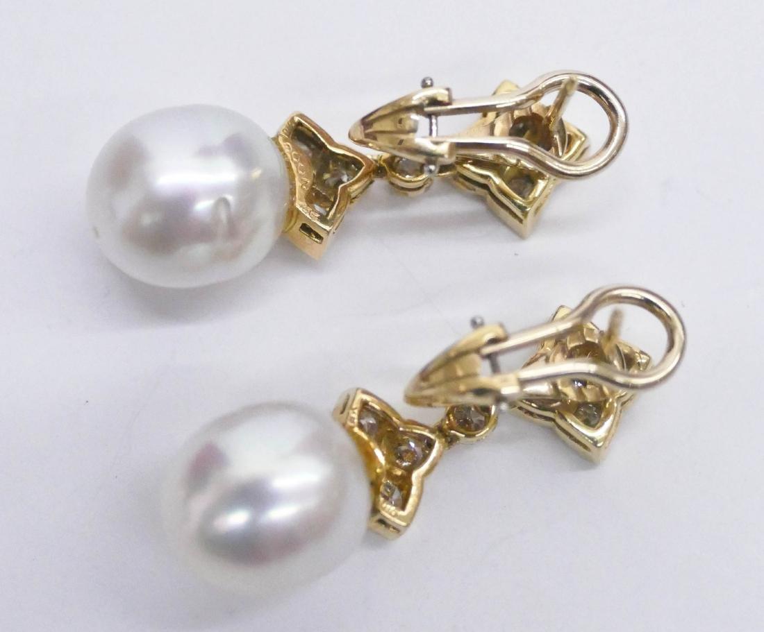Pair Lady's 18k South Sea Pearl Dangle Earrings 1.25'' - 4