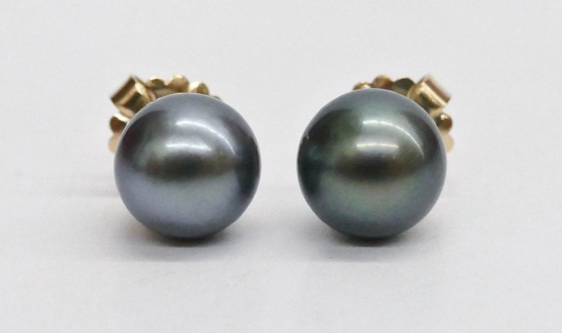 Pair Lady's 18k Black South Sea Pearl Earrings. They