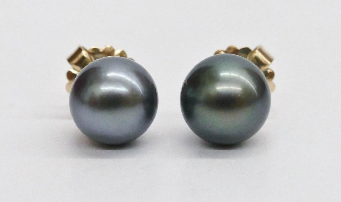 Pair Lady's 18k Black South Sea Pearl Earrings. They
