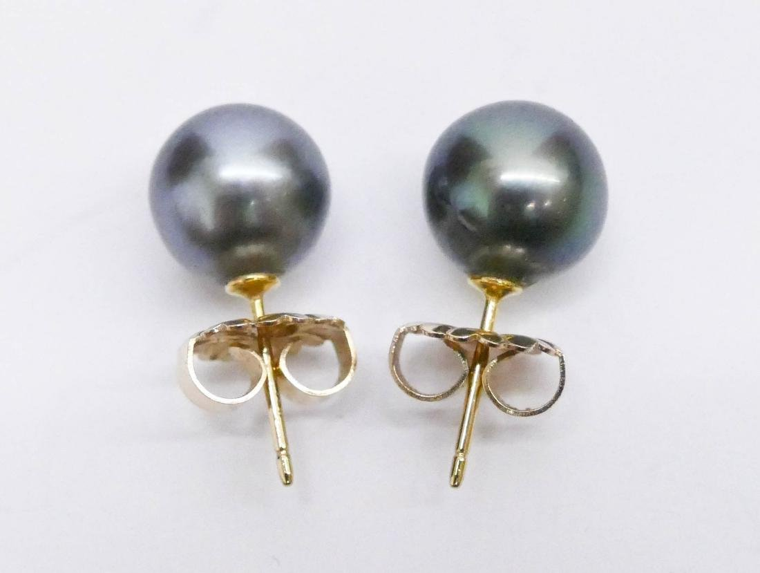 Pair Lady's 18k Black South Sea Pearl Earrings. They - 2