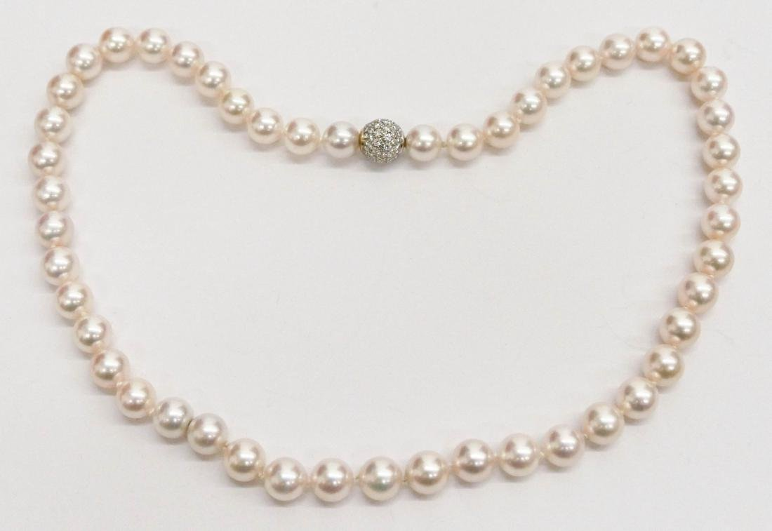 Lady's Creamrose Pearl & Diamond Necklace 18''.