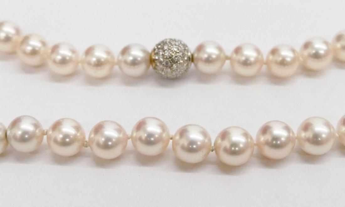 Lady's Creamrose Pearl & Diamond Necklace 18''. - 2