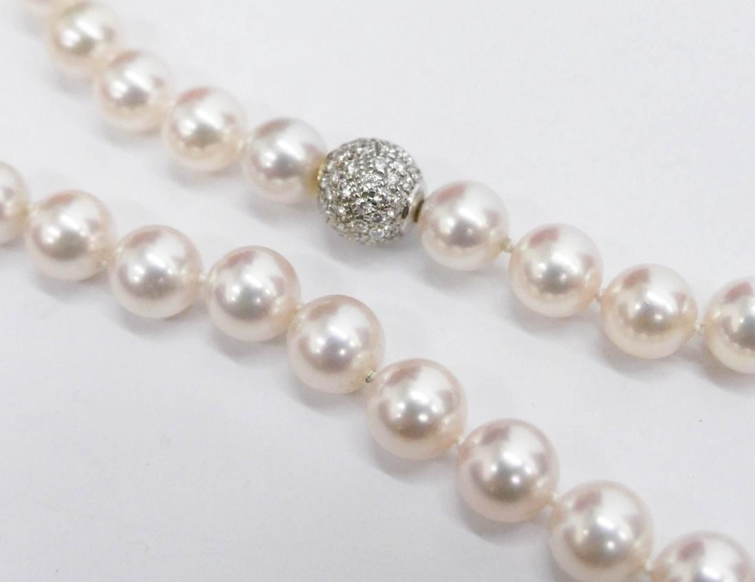 Lady's Creamrose Pearl & Diamond Necklace 18''. - 3