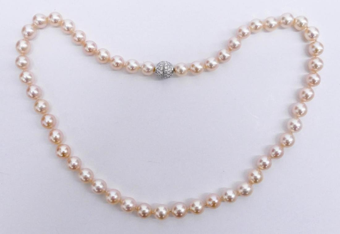 Lady's Peach Pearl & Diamond Necklace 18''. Includes
