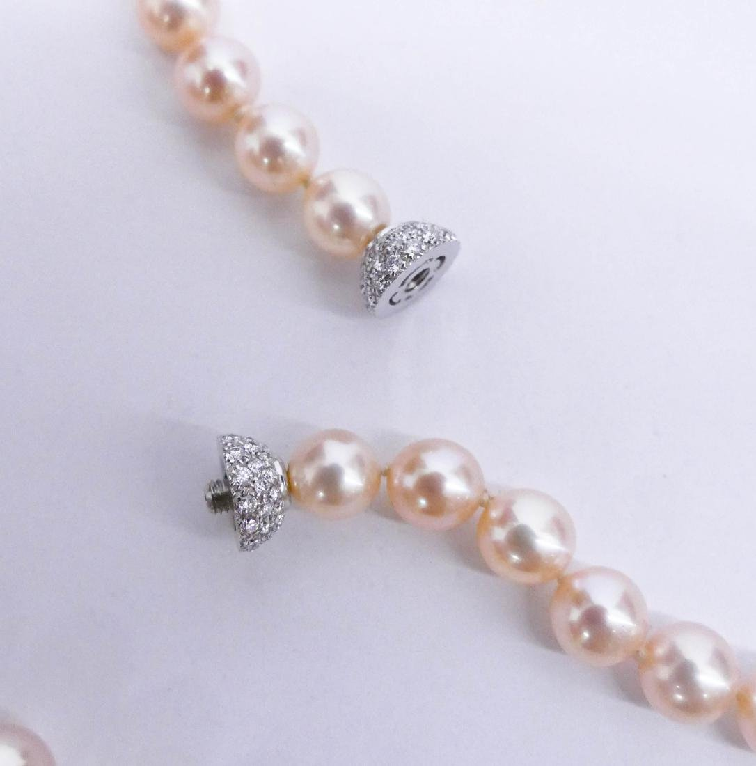 Lady's Peach Pearl & Diamond Necklace 18''. Includes - 4