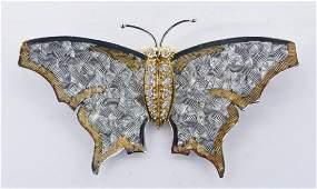 Carrera y Carrera Platinum  Diamond Butterfly Brooch