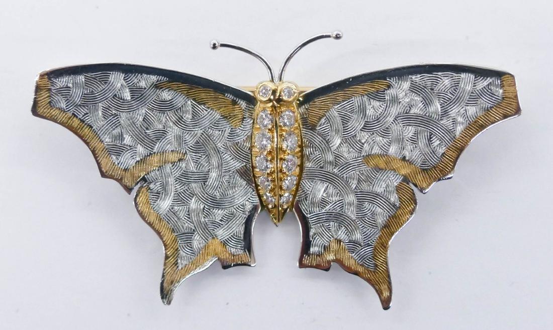 Carrera y Carrera Platinum & Diamond Butterfly Brooch