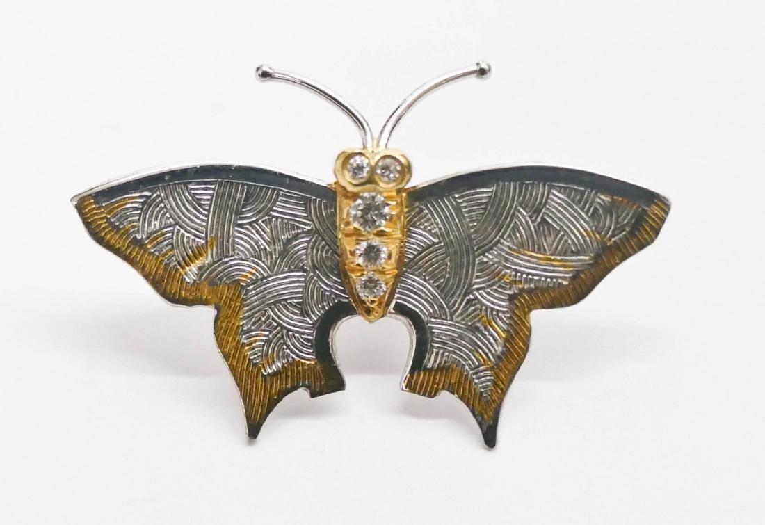 Carrera y Carrera Platinum & Diamond Butterfly Tie Tack