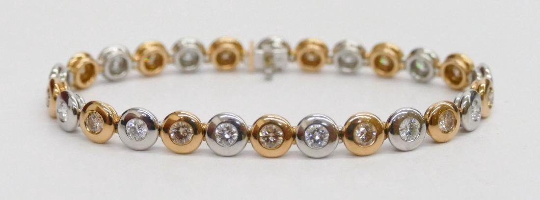 Lady's Platinum & 18k Diamond Bracelet 7''. Alternating
