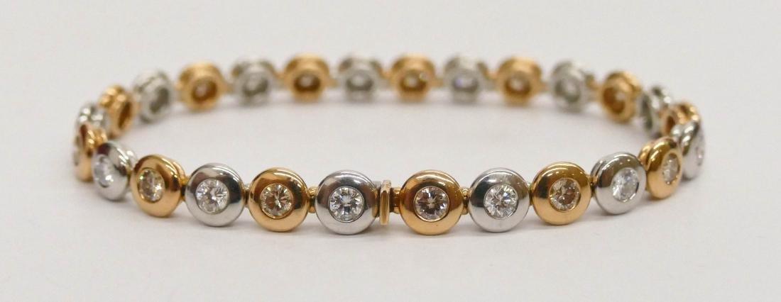 Lady's Platinum & 18k Diamond Bracelet 7''. Alternating - 2