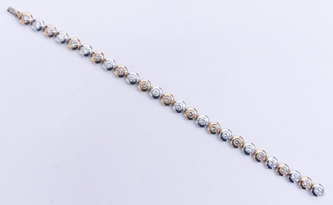Lady's Platinum & 18k Diamond Bracelet 7''. Alternating - 3