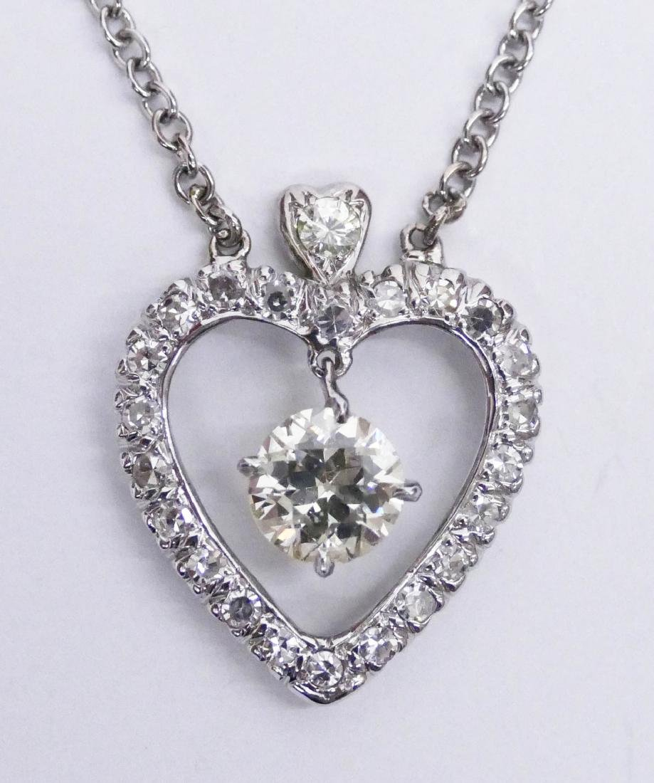 Lady's 2.39ctw Diamond Heart Pendant Necklace 24''.