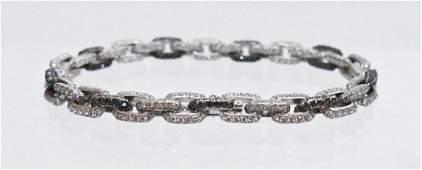 Lady's 18k Black & White Diamond Chain Link Bracelet
