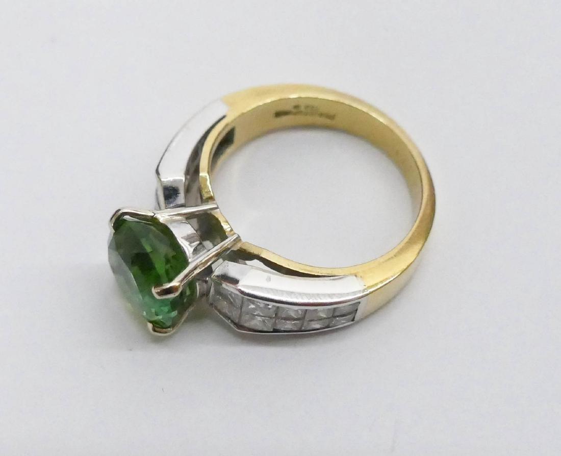 Christopher Lady's 18k Green Tourmaline & Diamond Ring - 2