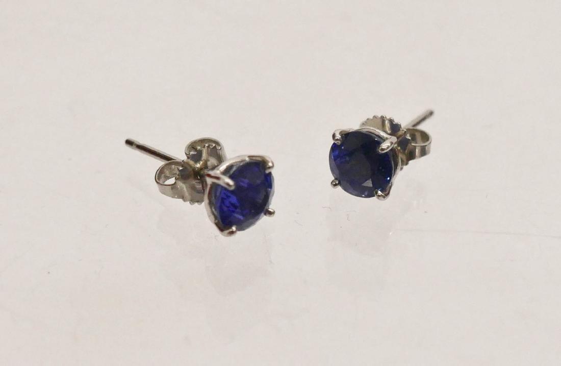 Pair Lady's 3.15ctw Natural Sapphire Stud Earrings. Set - 3