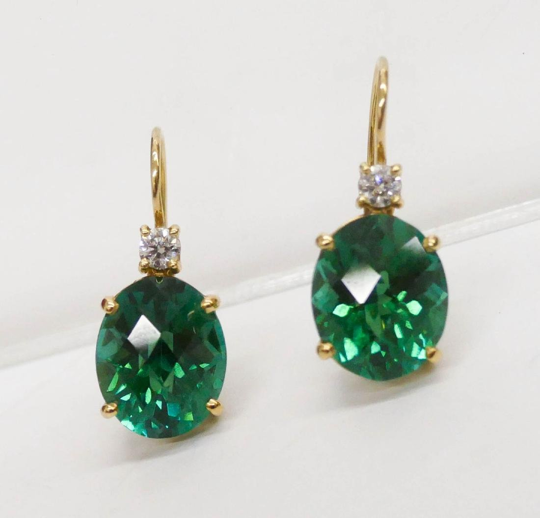 Pair Lady's 13ctw Green Tourmaline & Diamond Earrings