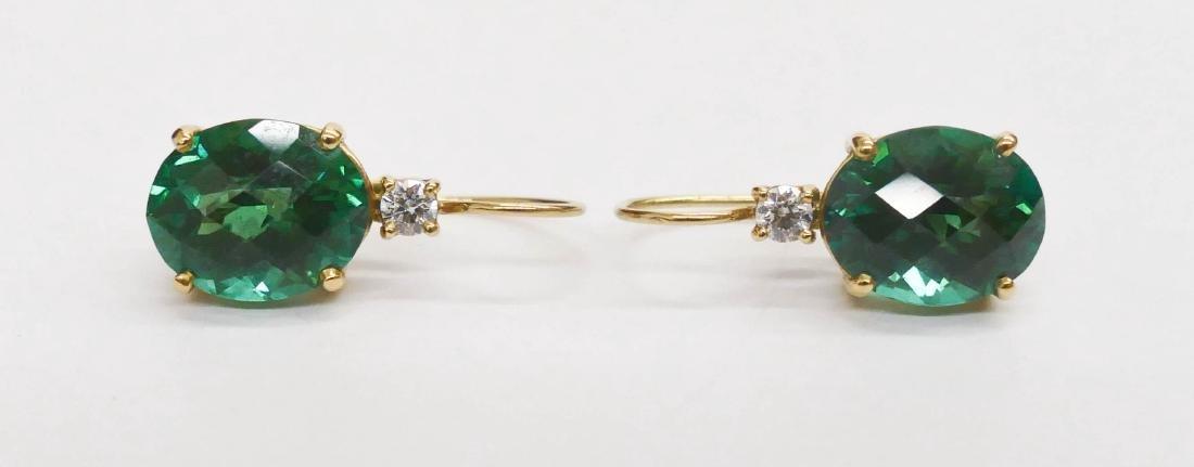 Pair Lady's 13ctw Green Tourmaline & Diamond Earrings - 2